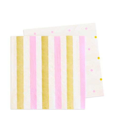 Pink & Gold Cocktail Napkin - Pack of 20