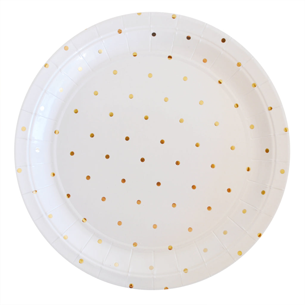 Gold Dots Large Plate - Pack of 10