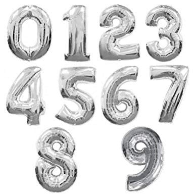 Jumbo Foil Numbers - Silver (86cm)