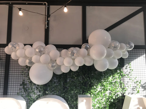 White & Confetti - Jumbo Balloon Garland Kit 2m