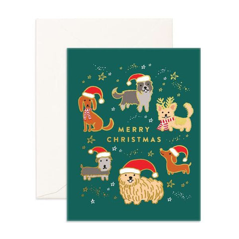 Christmas Pups in Santa Hats Card