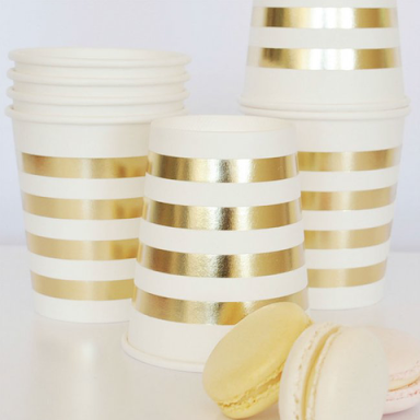 Gold Stripe Cup - Pack of 10