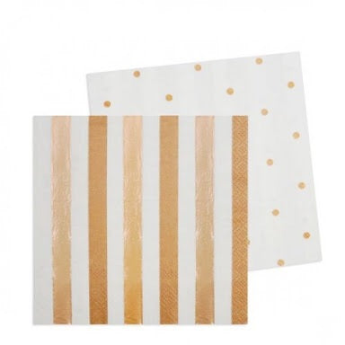 Rose Gold Stripe & Dots Cocktail Napkin - Pack of 20