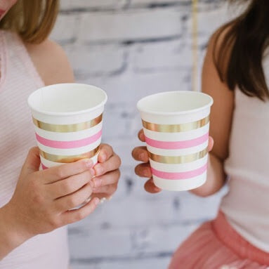 Pink & Gold Stripe Cup - Pack of 10