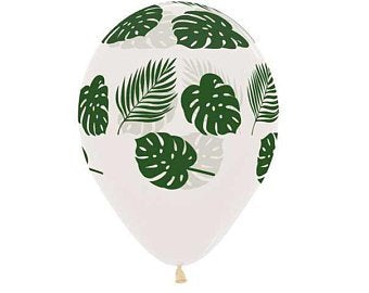 Jungle Leaf Print - Clear Balloon (6pack)