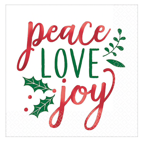 Peace Love Joy Foiled Napkins (16pk)