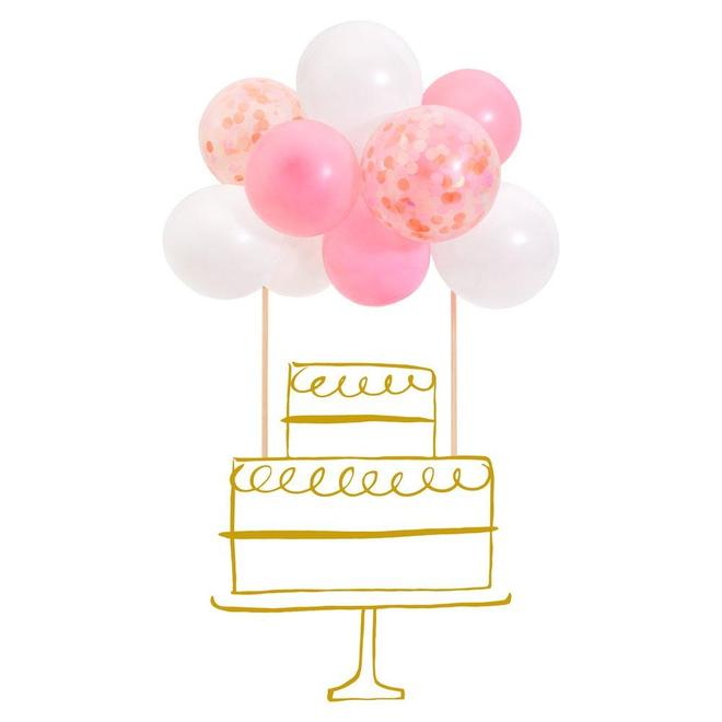 Pink Confetti Balloon Cake Topper Kit