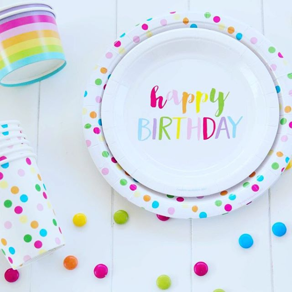 Happy Birthday Rainbow Cake Plate (12pack)