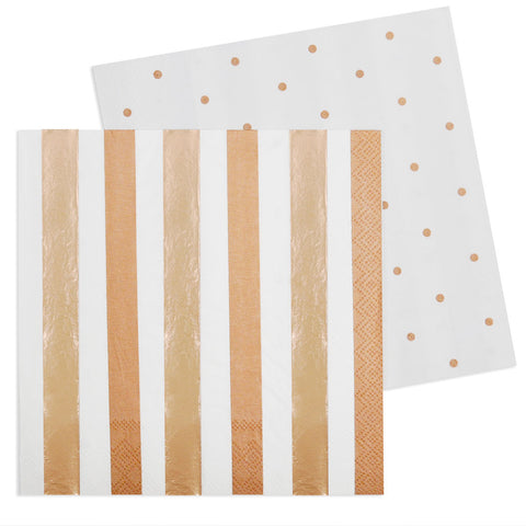 Rose Gold Stripe & Dots Luncheon Napkin - Pack of 20