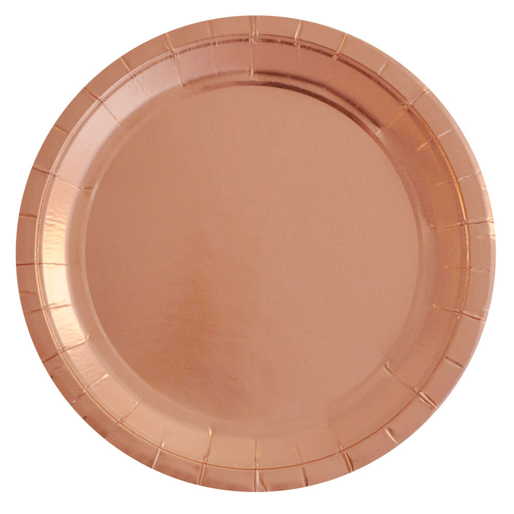 Rose Gold Foil Large Plate - Pack of 10