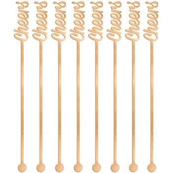 Rose Gold Cheers Drink Stirrers (12pk)