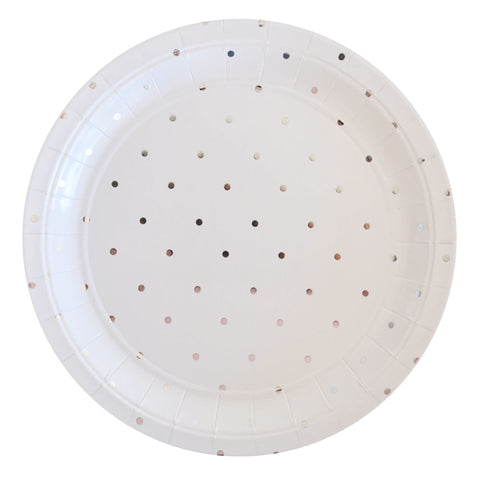 Silver Dots Large Plate - Pack of 10