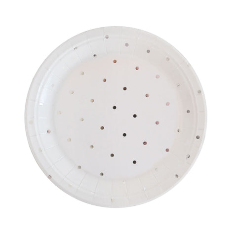 Silver Dots Foil Dessert Plate - Pack of 10