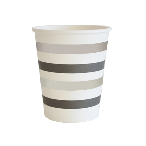 Black & Silver Stripe Cup - Pack of 10
