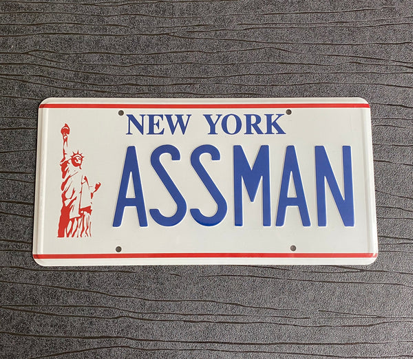 ASSMAN Kramers 1973 Chevrolet Impala prop License Plate Embossed on Aluminium 300mm x 150mm inspired by the TV show Seinfeld