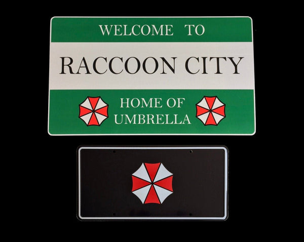 Welcome to Raccoon City Road Sign 430mm x 250mm and Umbrella Corporation license plate 300mm x 150mm Prop aluminium Plate 2 Pack