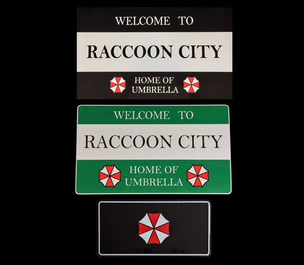 2 x Welcome to Raccoon City Road Signs in Green and Black and 1 x Umbrella Corporation license plate Prop aluminium Plate 3 Pack