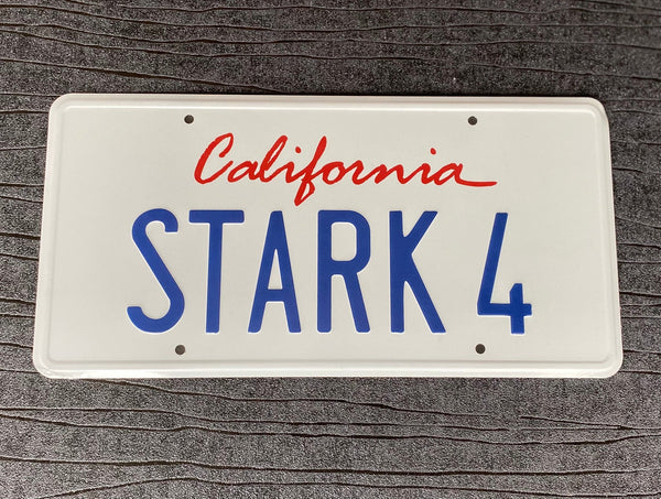 STARK 4 Iron Man Tony Stark Audi R8 prop License Plate Embossed on Aluminium 300mm x 150mm