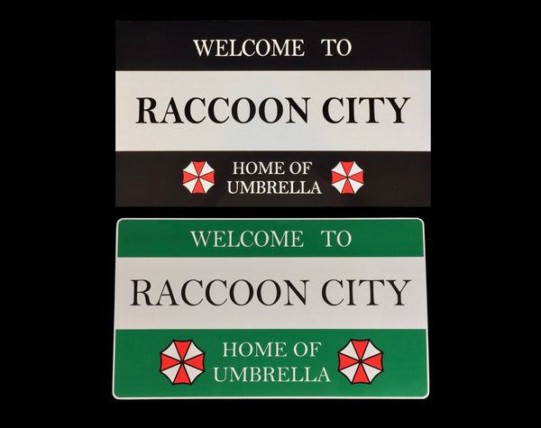 Raccoon City Road Sign 430mm x 250mm and Umbrella Corporation license plate 300mm x 150mm Prop aluminium Plate 2 Pack