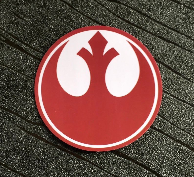 Star Wars Sticker Rebel Alliance Waterproof and UV resistant PVC sticker colour Red (75mm)