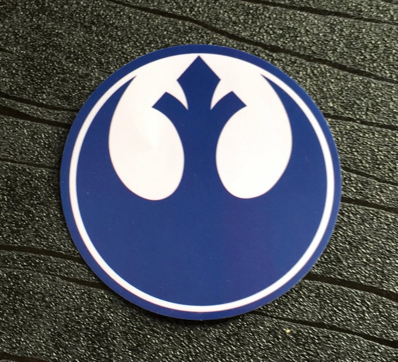 Star Wars Sticker Rebel Alliance Waterproof and UV resistant PVC sticker colour Blue (75mm)