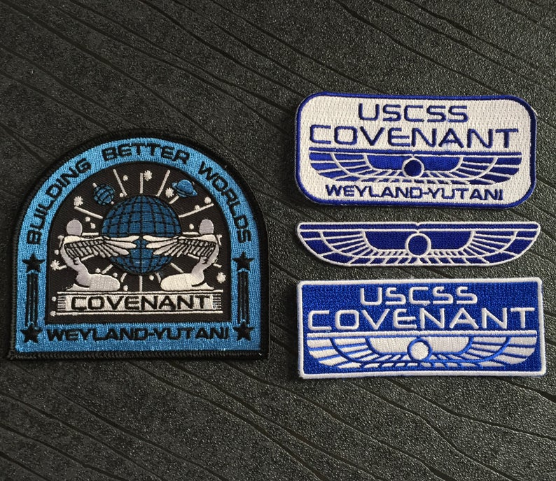Alien USCSS Covenant Weyland Yutani Embroidered iron on patch Collection 4 pack