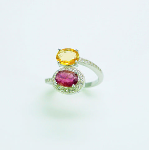 Bague Tourmaline Multicolore, : Spirale