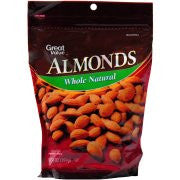 Great Value Whole Natural Almonds - Almendras, 14 oz