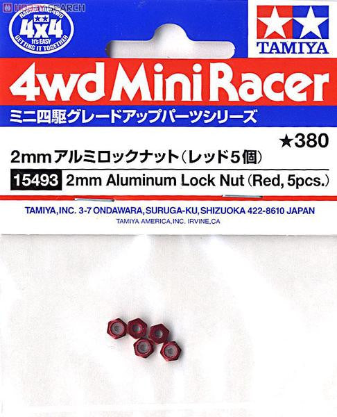 2mm Aluminum Lock Nut (Red, 5pcs.)