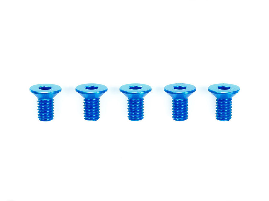 3X6MM HI-GRADE ALUMINUM COUNTERSUNK HEX HEAD SCREWS (BLUE, 5 PCS.)