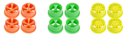 Mini 4WD Fluorescent Wheel Set (Small Diameter, Low Profile)