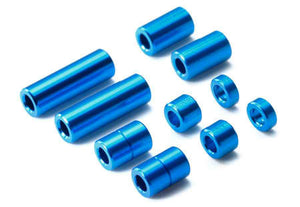 Aluminum Spacer Set (12/6.7/6/3/1.5mm, 2pcs. each) (Blue)