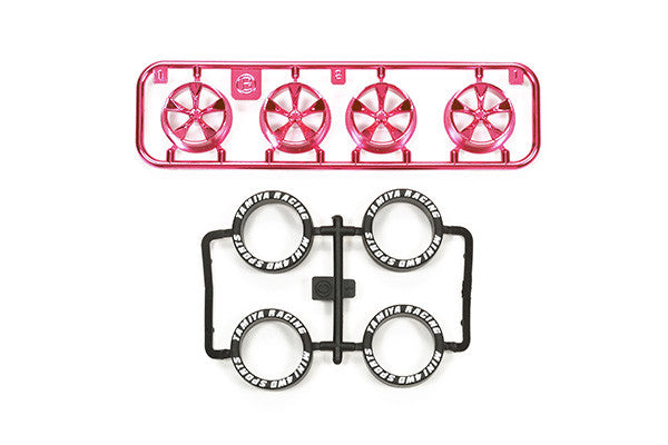JR LP Tire/Wheel Set (5-Spoke) - Pink Plated