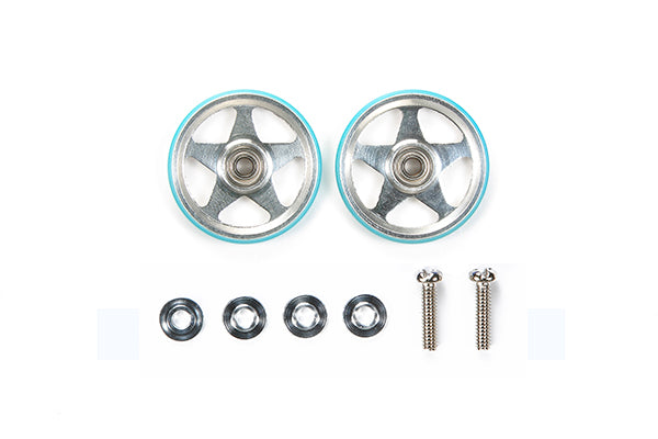 19mm Alum 5 Spoke Rollers - w/Plastic Rings (Light Blue)