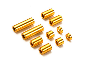 Aluminum Spacer Set (12/6.7/6/3/1.5mm, 2pcs. each) (Gold)