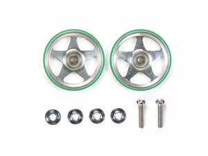 19mm Aluminum Rollers (5 Spokes) w/Plastic Rings (Green)