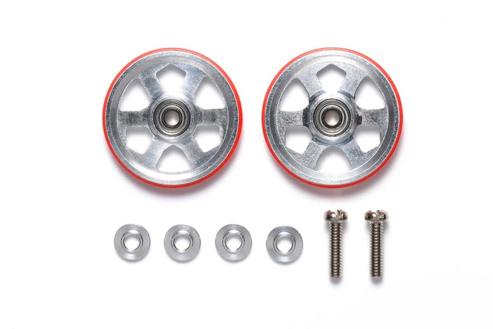 19mm Aluminum Ball-Race Rollers (6 Spokes) w/Plastic Rings (Red)