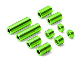 Aluminum Spacer Set Green (12/6.7/6/3/1.5mm, 2 Pcs. Each)