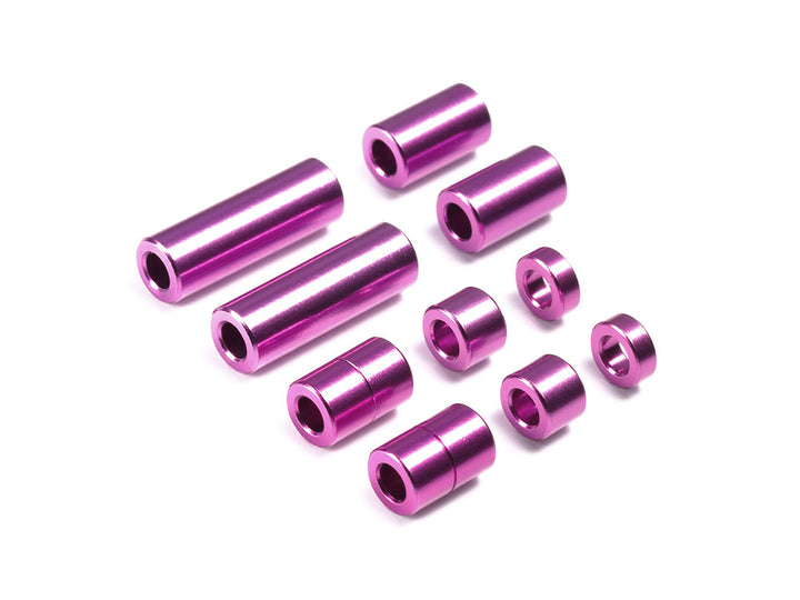 Aluminum Spacer Set (12/6.7/6/3/1.5mm, 2pcs. each) (Purple)