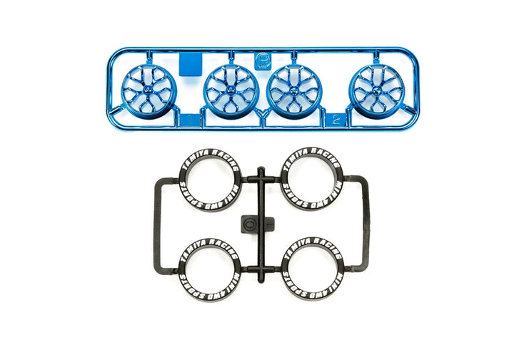 Low Profile Tire & Blue Plated Wheel Set (Y Spoke)