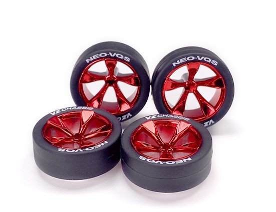 Super Hard Low-Profile Tire & Red Plated 5-Spoke Wheel Set ( NEO-VQS) )