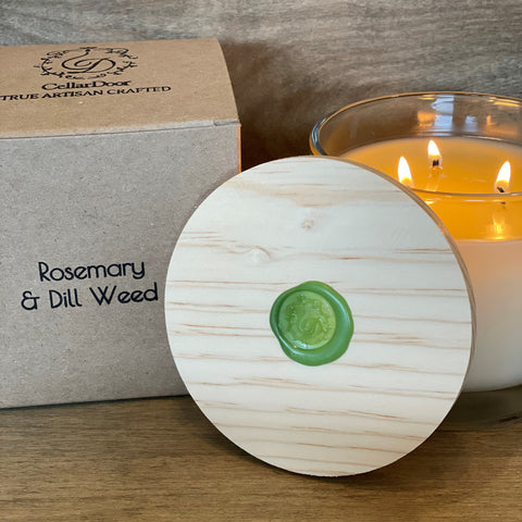 Rosemary & Dill Weed 3 wick glass candle
