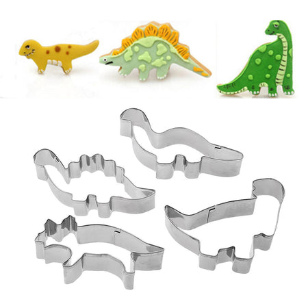 4-pc  Stainless Steel Dinosaur Cookie Cutter Set