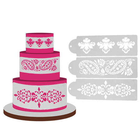 3Pcs Lace Flower Cake Stencil