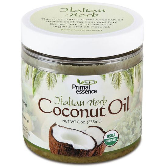 ORGANIC COCONUT OIL 8oz INFUSED ITALIAN HERB