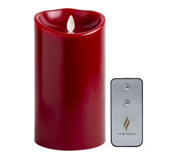"Luminara 4"" x 7"" Real-Flame Effect Candle - BURGUNDY + Remote - The Flameless Candle Shop"