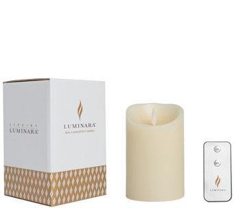"Luminara 3.5""x 5"" Classic Flameless Candle - Ivory + Remote 