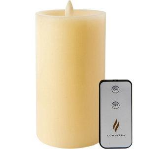 "Luminara 3.5""x 7"" Sunken Top Flameless Candle - Ivory + Remote"