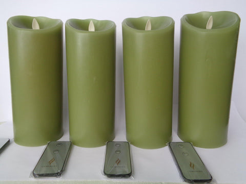 "9"" Green Flameless Candles - Set of Four w/ Remotes"