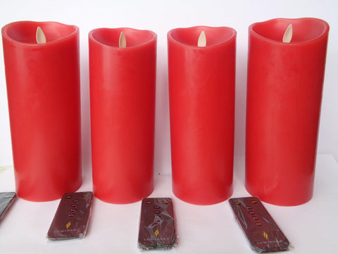 "9"" Red Flameless Candles - Set of 4 w/ Remotes"